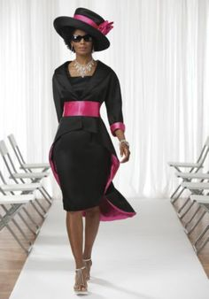 Ashana Jacket Dress - I like this without the hat. I'm not much of a hat person. I could even see this for bridesmaids/mother of the bride - in a black & pink theme wedding. Different and Nice. Caftan Dress, Coat Dress, Jacket Dress, Elegant Church Suits, Outfits With Hats, Cute Outfits, Bridesmaids And Mother Of The Bride, Diva Fashion, Womens Fashion