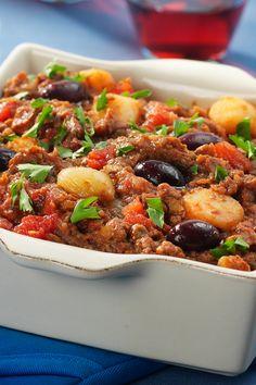 GREECE - Stifado - traditional stew with Kalamata olives, potato, meat, tomato and....balsamic vinegar! #Oil & Vinegar #Recipes #Greece