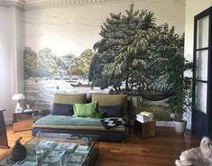 Le salon d'Amélie Colombet avec le décor panoramique Serpentine d'Au fil des Couleurs © Au fil des Couleurs