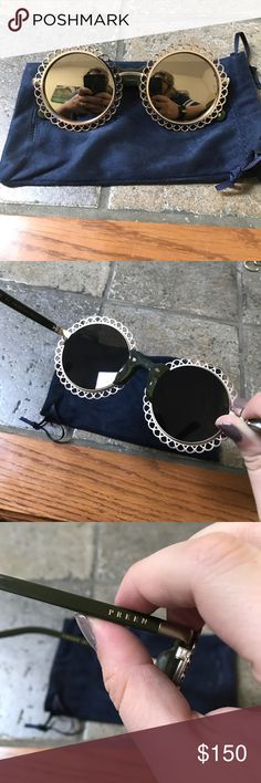 Preen by Thrornton Bregazzi Sunglasses Retro round style! Great condition. Gold with green. John Lennon round with a twist. Comes with pouch that acts as cleaning cloth. No trades, no pp. Preen by Thornton Bregazzi Accessories Sunglasses