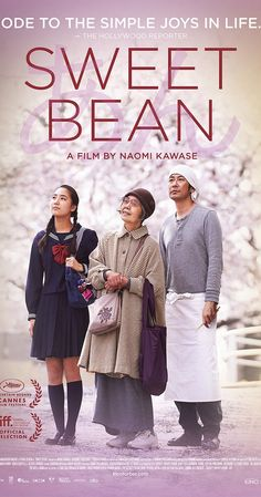 Directed by Naomi Kawase.  With Kirin Kiki, Masatoshi Nagase, Kyara Uchida, Miyoko Asada. The manager of a pancake stall finds himself confronted with an odd but sympathetic elderly woman looking for work. A taste of her homemade bean jelly convinces him to hire her, which starts a relationship that is about much more than just street food.