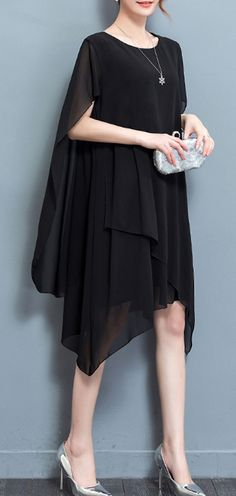 US$ 24.54 Casual Women O-Neck Cloak Chiffon Dresses