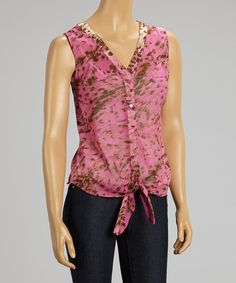 Another great find on #zulily! Fuchsia Jungle Tie-Front Button-Up Top #zulilyfinds