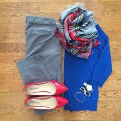 Blanket Scarf, Old Navy Pixie Pants, Blue Sweater, Red Flats | #workwear #officestyle #liketkit | www.liketk.it/SmDG | IG: @whitecoatwardrobe