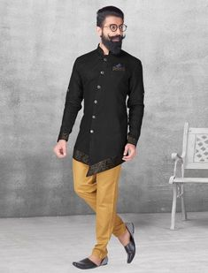 Black color silk kurta suit, mens fashion, fashion for mens, indian ethnic, Men Fashion Show, Mens Fashion Suits, Fashion Fashion, Party Wear Dress For Man, Pathani For Men, Indian Groom Wear, Indian Wear For Men, Wedding Dress Men, Wedding Wear