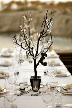 faux manzanita tree centerpieces with hanging crystals and votive candles Paper Flower Decor, Flower Decorations, Masquerade Ball Decorations, Masquerade Centerpieces, Masquerade Theme, Masquerade Wedding, Winter Decorations, Tree Centerpieces, Wedding Centerpieces