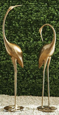 Hand-sculpted aluminum statues feature elegant cranes in mid-action poses mounted on sturdy, iron-filled bases. A powdercoated brass finish completes each dramatic conversation piece. Modern Fountain, Copper Art, Garden Oasis, Crashing Waves, Action Poses, Rustic Charm, Rustic Design, Crane, Decorative Accessories