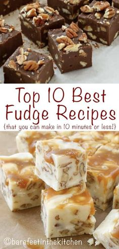 10 BEST Fudge Recipes that can be made in 10 minutes or less! Creamy, rich homemade fudge is my favorite holiday treat to give as gifts or serve to guests. Vanilla Fudge Recipes, Best Fudge Recipe, Almond Fudge Recipe, Best Chocolate Fudge Recipes, Easy Chocolate Fudge, Marshmallow Fudge, Oreo Fudge, Nutella Fudge, Chocolate Peanut Butter Fudge
