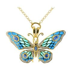 ... ❤ liked on Polyvore featuring jewelry, necklaces, pendant necklace, yellow gold diamond necklace, butterfly pendant necklace, sapphire necklace and diamond chain necklace