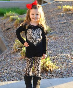 This Beary Basics Black Leopard Heart Top & Leggings - Toddler & Girls by Beary Basics is perfect! #zulilyfinds