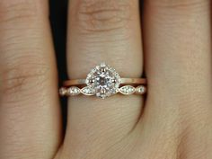 Ultra Petite Kyla & Christie 14kt Rose Gold Morganite and Diamond Cushion Halo Wedding Set (Other metals and stone options available)