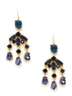 Leslie Danzis Gold & Simulated Crystal Chandelier Earrings