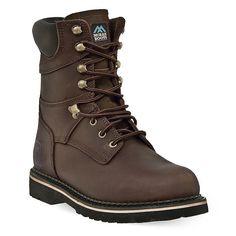 McRae Industrial Men's Slip-Resistant Steel-Toe Work Boots, Size: 11.5 Wide, Dark Brown
