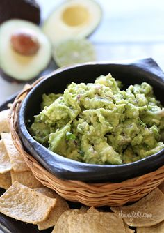 We LOVE making guacamole from scratch. For perfect guacamole we like to keep it chunky and serve it with baked chips. @skinnytaste