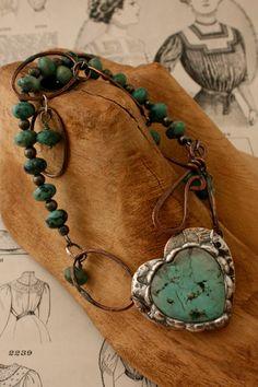 Turquoise Heart Wrap Bracelet