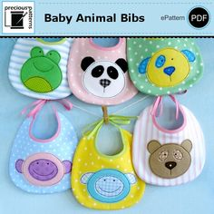 This is a PDF e-sewing pattern.  These are NOT finished bibs.  The pattern includes simple to follow instructions that are easy enough for a beginner to make.  You can applique the designs on t-shirts,onesies, tote bags, quilt blocks, bibs, burp cloths, etc.  The baby animal bibs coordinate with our baby animal softies pattern (sold separately).