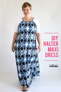 Learn how to make a DIY halter maxi dress. Click through for the easy sewing tutorial. How to sew a maxi dress. Dress Sewing Patterns, Blouse Patterns, Clothing Patterns, Skirt Patterns, Dress Tutorials, Sewing Tutorials, Sewing Projects, Sewing Tips, Sewing Hacks