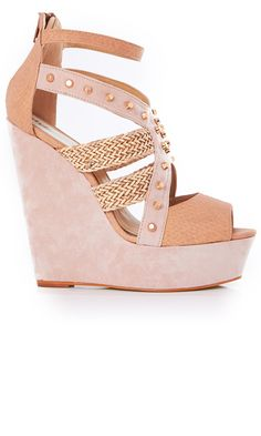 Nude peep-toe wedges with gold hardware.