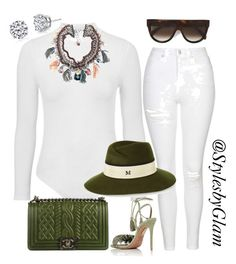 """""""DIVA STYLE"""" by stylesbyglam on Polyvore featuring Topshop, Aquazzura, Chanel, Harry Kotlar, Maison Michel and CÉLINE"""