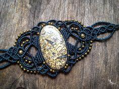 Macrame bracelet big fossil stone boho by creationsmariposa