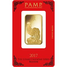 """The PAMP 2017 Lunar Rooster 1oz Gold Bar features on its obverse the image of a rooster proudly looking over it's right shoulder, it's beak open and chest puffed up as it crows. Stamped above the image is the Chinese symbol for """"rooster"""".   The reverse of the bar shows the back of the same image. Also detailed on the reverse of the bar is the weight and purity and the unique serial number.  Each bar weighs 1oz of 999.9 Fine Gold. Manufactured by PAMP Suisse, the world's leading independent…"""