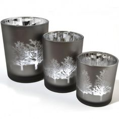 3 Wonderland Tree Silhouette Frosted Tealight Holders