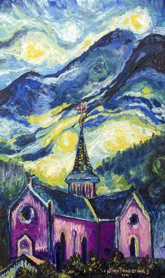 Pink church in Swiss Alps by Nino Ponditerra Original Paintings, Oil Paintings, Swiss Alps, Vincent Van Gogh, Oil On Canvas, Vibrant Colors, Digital Art, Design Inspiration, Art Prints