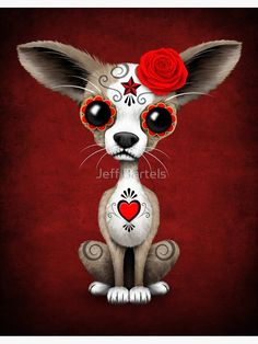 Chihuahua Art, Chihuahua Drawing, Chihuahua Mexico, Teacup Chihuahua, Tattoo Sketch, Sugar Skull Art, Sugar Skulls, Mandala, Red Day