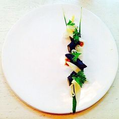 Asian pear, chrysanthemum, salsify branch, and endive by [ONE] Restaurant. Photo by pocketfork.