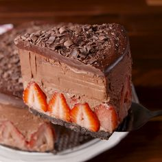 Chocolate Mousse Cake Get ready for the most decadent cake of your life. Get the recipe at .Get ready for the most decadent cake of your life. Get the recipe at . No Bake Desserts, Just Desserts, Delicious Desserts, Yummy Food, Baking Desserts, Baking Recipes, Cake Recipes, Dessert Recipes, Recipes Dinner