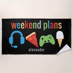 Shop Weekend Plans Gamer Video Game Snacks Kids Beach Towel created by LilPartyPlanners. Custom Beach Towels, Kids Beach Towels, Beach Kids, Beach Games, Weekend Plans, Snacks Kids, Video Games For Kids, Activity Games