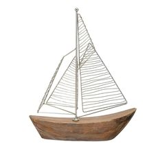 """12.75 Fir Wood and Wire """"Zahra"""" Nautical Sailboat Table Top Decorations, Brown"""