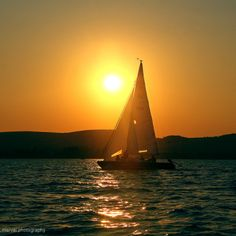 Balaton Sailing Ships, Boat, Sunset, Sunsets, Dinghy, Boats, Tall Ships, Ship