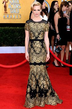 January Jones...    January 30, 2011    The actress looked sophisticated in a Carolina Herrera dress, Lorraine Schwartz jewelry, Roger Vivier shoes and a Tod's bag at the 17th Annual Screen Actors Guild Awards.