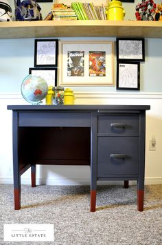 Painted Desk charcoal grey