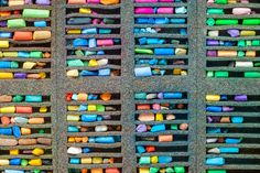 #Multicolored pastel crayons  Set of multicolored pastel crayons top view.