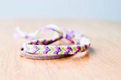 Friendship Bracelet Green Purple and Pink Chevron Cord by dnaranja