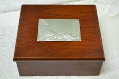 Lovely Square Mahogany Jewellery Box with Silver Tone Accent Plaque Featuring a…