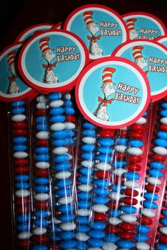 Dr Seuss treat sacks: Was thinking white chocolate with red white and blue sprinkles on pretzels with this tag! Happy Birthday Girls, First Birthday Parties, Birthday Party Themes, Boy Birthday, First Birthdays, Birthday Favors, Birthday Ideas, Dr. Seuss, Dr Seuss Week