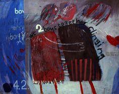 """""""Nós dois meninos juntos agarrados"""" por David Hockney esta obra foi feita inspirada num poema sobre a homossexualidade."""