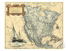 North America Map Premium Giclee Print by Vision Studio at Art.com