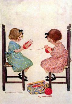 Jessie Willcox Smith Images Vintage, Vintage Pictures, Vintage Cards, Knit Art, Vintage Children, Knitting Projects, Lana, Illustrators, Knit Crochet