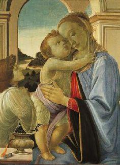 Botticelli. Боттичелли. Мадонна с младенцем и любующийся ангел. 1468 Музей Нортона Саймона, Пасадин.