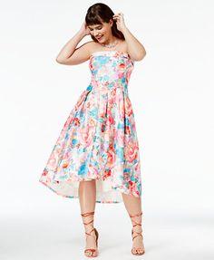 City Chic Trendy Plus Size Strapless High-Low Dress | macys.com