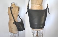 Coach Bucket Bag / black leather by badbabyvintage on Etsy