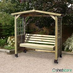 This traditional wooden swing seat arbour with its slatted apex roof, part-trellis sides and swing seat, will create an attractive feature in any garden. Description from shedstore.co.uk. I searched for this on bing.com/images