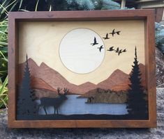 Laser Cut Wood Shadow Box Scene Inlaid / Moose in Forest Laser Cut Wood, Laser Cutting, Woodworking Jigs, Woodworking Projects, 3d Laser Printer, Wood Shadow Box, Wood Stain Colors, Wood Wall Art, Wood Crafts