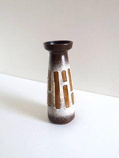 Mid Century Brown Ceramic Vase of Conical Shape  Retro 1970s