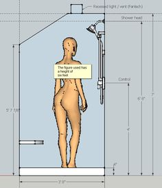 Under-stairs shower for a bald person wearing only steri-strips.  Gives dimensions (for the shower enclosure).