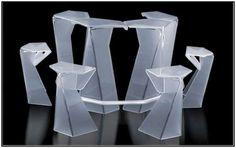 "Résultat de recherche d'images pour ""design origami"" Design Origami, Acrylic Furniture, Create Space, Furniture Design, Miniatures, Crystals, Creative, Glass, Color"